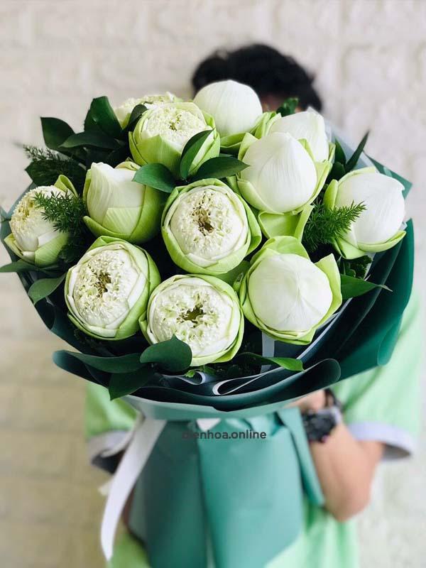 Bó hoa sen trắng đẹp nhất - Ms:2449 - Dienhoa.Online | Phu Quy Flowers |  Dịch vụ điện hoa Online số 1 Việt Namso